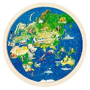 Double Sided Circular World Map Jigsaw Puzzle - toys & games