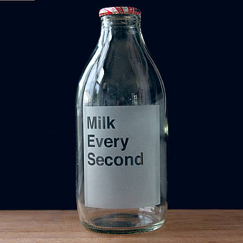 Etched British Milk Bottle