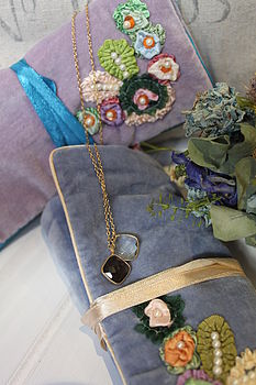 Embroidered Floral Velvet Jewellery Roll
