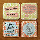 Set Of Two 'Old Wives New Wives' Coasters