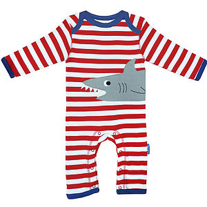 Organic Cotton Shark Applique Sleepsuit