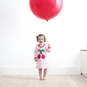 Organic Long Sleeve Cherry Applique Dress - babies' dresses