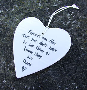 'Friends Are Like Stars' Hanging Heart