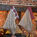 Oily Rag Tartan Lined Hessian Christmas Sacks
