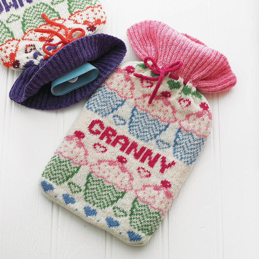 personalised fairisle hot water bottle cover by clova knits ...