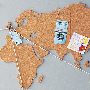 World Map Cork Pinboard Bundle - map inspired art