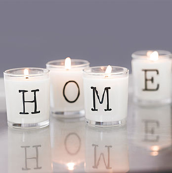 Candles spelling HOME