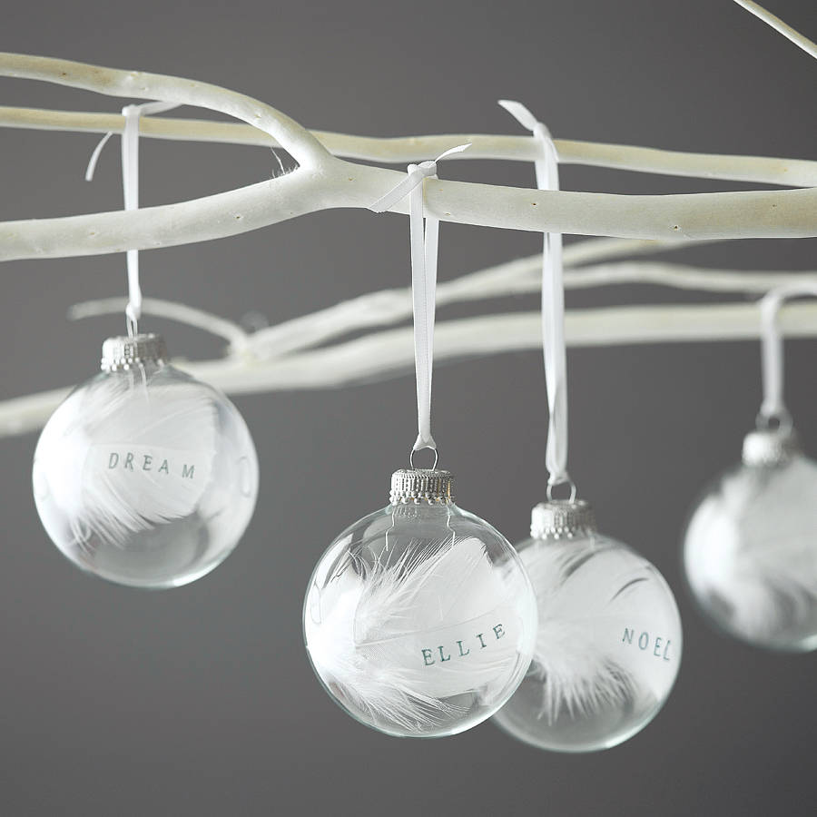 Personalised 7cm feather bauble by button box cards for Personalised christmas decorations
