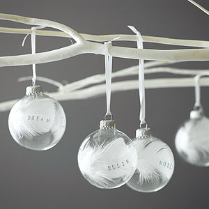 Personalised Feather Bauble - tree decorations