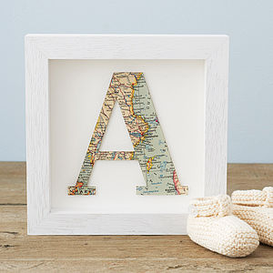 Map Location Letter New Baby Birthday Framed Print - mixed media pictures for children