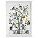 Pastel,blue, yellow and grey family tree print in a standard frame