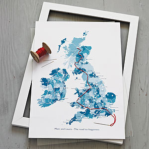 Personalised Stitch Your Journey Map Print - maps & locations