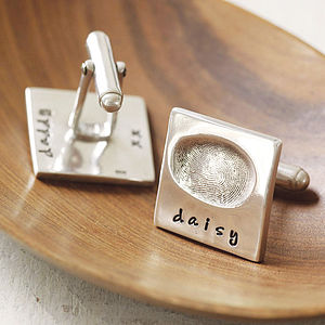 Personalised Square Silver Fingerprint Cufflinks - our family