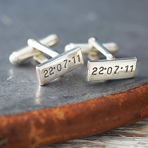 Personalised Rectangular Silver Cufflinks - cufflinks