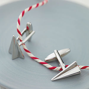 Paper Plane Cufflinks - for travel-lovers