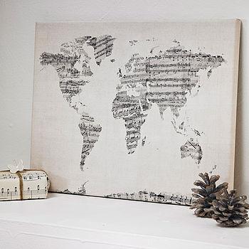 Sheet Music World Map Art Print