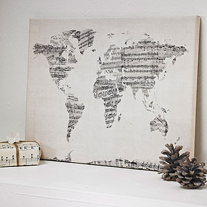 Sheet Music World Map Art Print - gifts for fathers