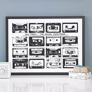 Personalised Playlist Cassette Print - music-lover