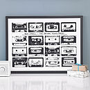 Personalised Mix Tape Print - Black & White