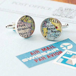 Personalised Location Map Cufflinks - frequent traveller