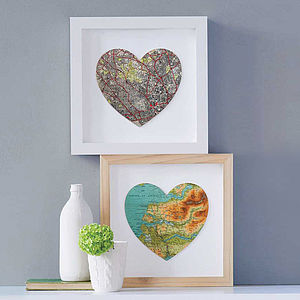 Bespoke Map Heart Artwork - gifts for couples