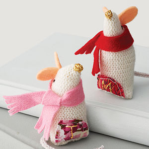 Personalised Knitted Christmas Mouse - soft toys & dolls