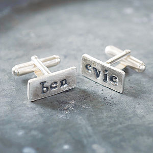 Personalised Silver Name Cufflinks - birthday gifts