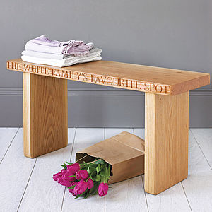 Personalised Solid Oak Bench - personalised gifts for families