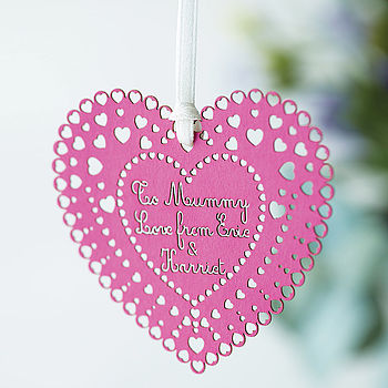 Personalised Paper Heart Keepsake - pink