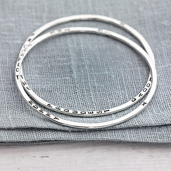 Personalised Word Bangle in 925 Sterling Silver with a black finish (2 bangles featured)