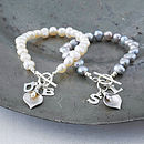 Personalised Freshwater Pearl Lily Bracelet - Left: Ivory Right: Silver Grey