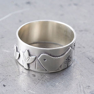 Silver Bird And Lotus Ring
