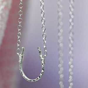 Sterling Silver Lucky Horseshoe Necklace - rustic wedding ideas