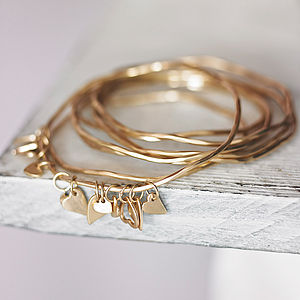 Bess Heart Charm Bangle - for friends