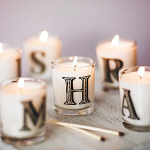 Alphabet Scented Candle - wedding table styling