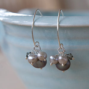 Mini Pearl Cluster Earrings In Silver
