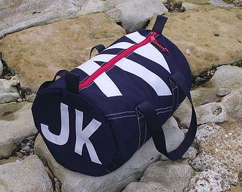 Personalised Seaview Navy Blue Kit Bags