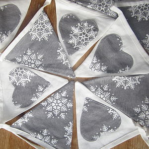 Christmas Linen And Snowflakes Bunting - garlands & bunting