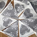 Christmas Linen And Snowflakes Bunting