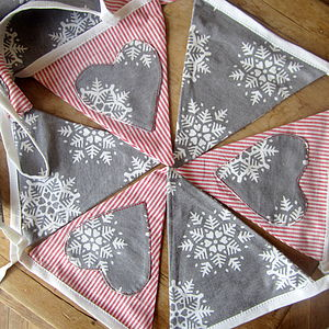Christmas Bunting Snowflakes And Red Stripes - garlands & bunting
