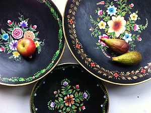 Choice Of Three Metal Folk Platters - bowls