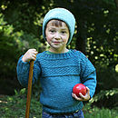 Boys Hand Knitted Teal Blue Merino Guernsey Jumper