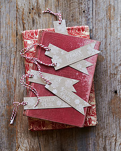 Six Hand Stamped Christmas Gift Tags - christmas labels & tags