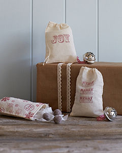 Three Hand Stamped Christmas Gift Bags