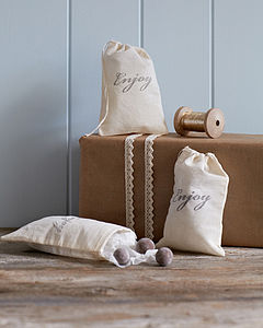 Three Hand Stamped 'Enjoy' Gift Bags - wedding favours