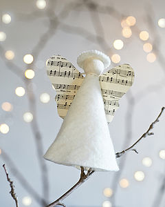 Handmade Angel Christmas Tree Topper - music