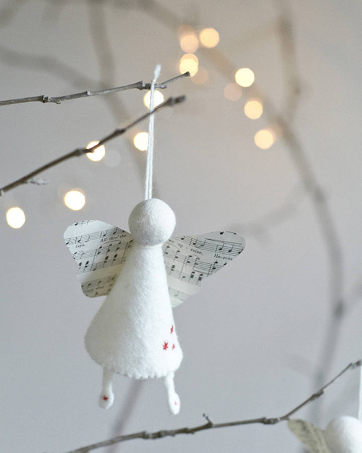 Handmade felt angel decoration by rastall and daughters for Handmade things for decoration