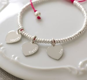 Silver Heart Charm Friendship Bracelet - for friends