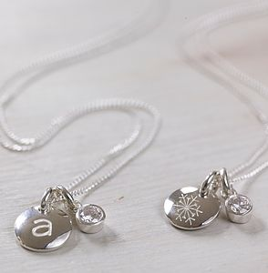 Personalised Silver Charm & Crystal Necklace - gifts under £50