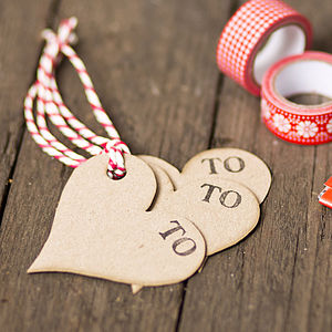 Recycled Heart Shaped Gift Tags - wedding favours